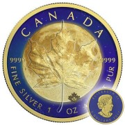 Canada LUNAR SURFACE Canadian Maple Leaf series THEMATIC DESIGN $5 Silver Coin 2017 Gold plated moon 1 oz